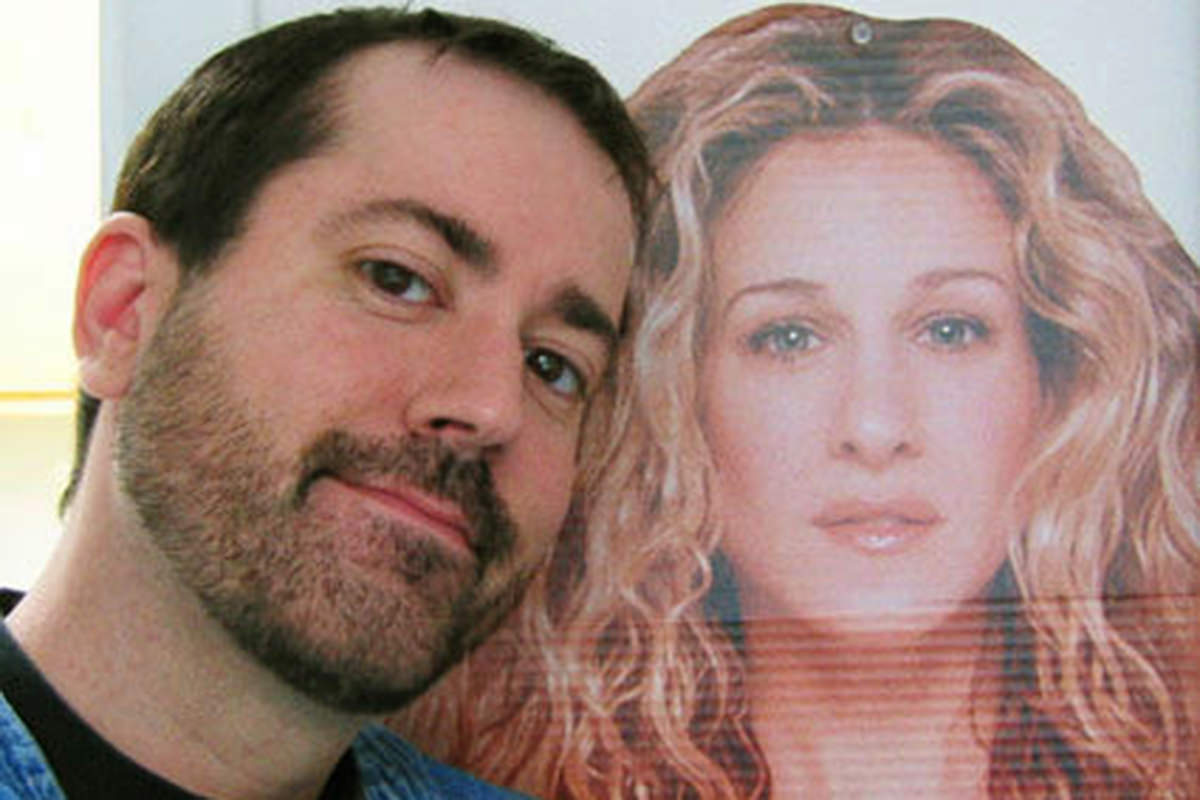 Me With a Cardboard Standee of Sarah Jessica Parker