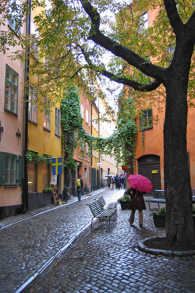 A woman with a pink umbrella walking through the rainy streets and colorful buildings of Gamla Stan (Old Town) Stockholm