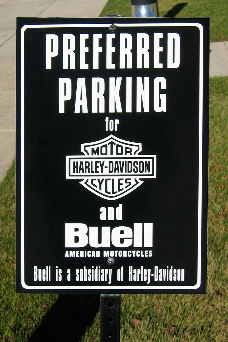 Harley Davidson preferred parking sign in Milwaukee, Wisconsin.