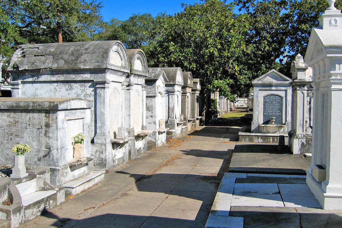 White crypts at the Lafayette Cemetery looking pretty against the blue sky.