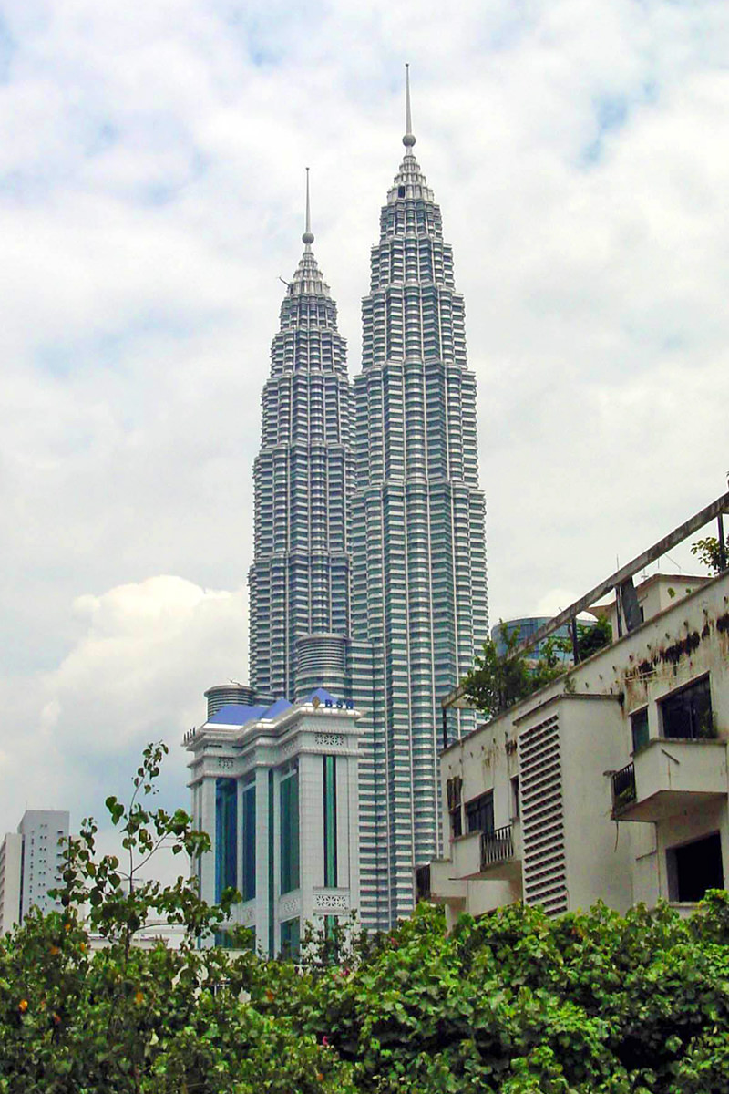A distant shot of Petronas Towers