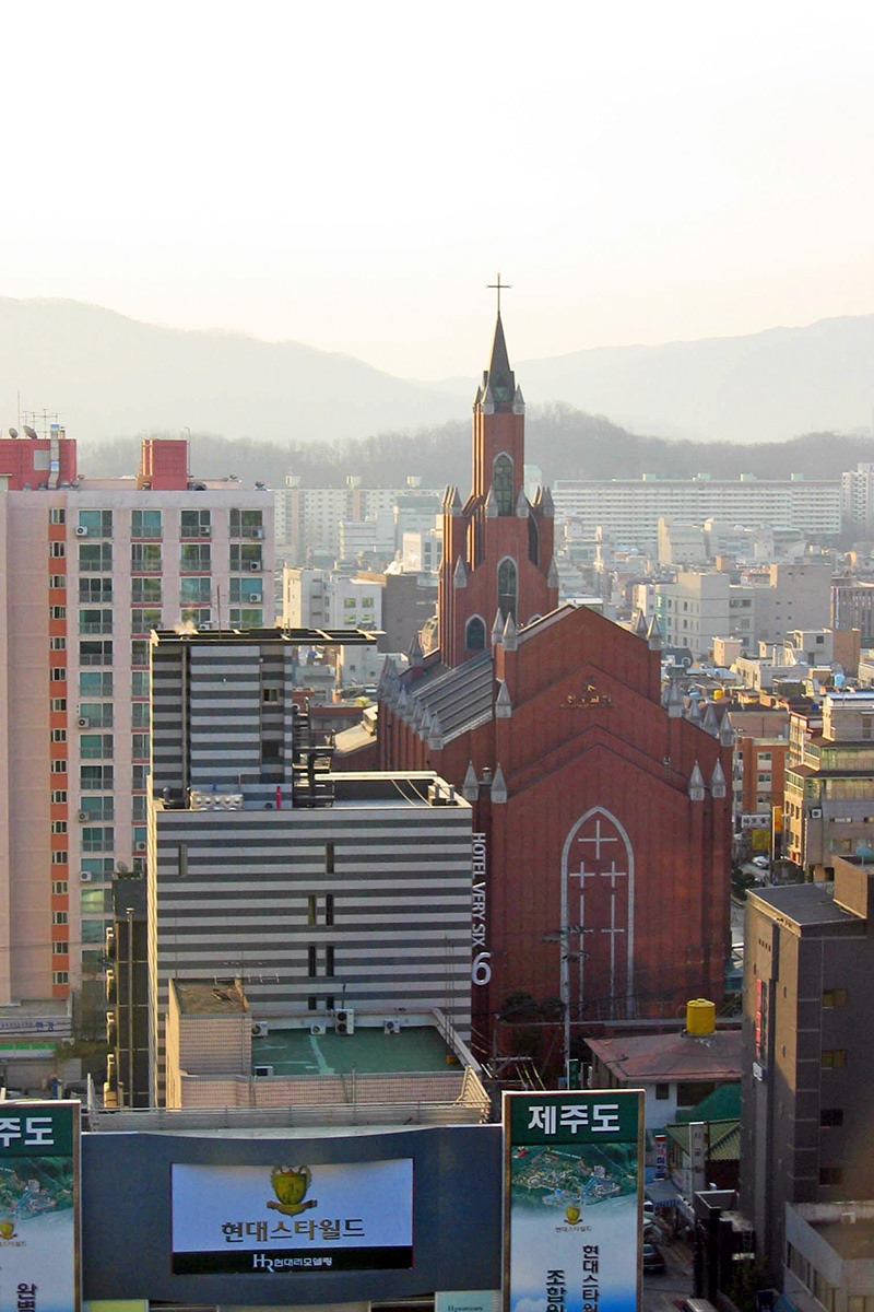 A massive Christian church in Seoul, Korea out my hotel window.