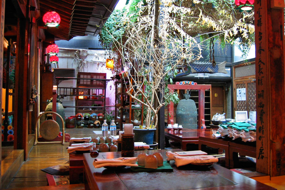 The interior of a beautiful traditional Korean restaurant in Seoul, Korea.