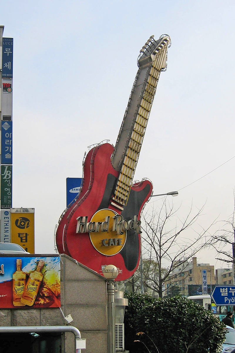 The giant neon guitar at the Hard Rock Cafe in Seoul, Korea.