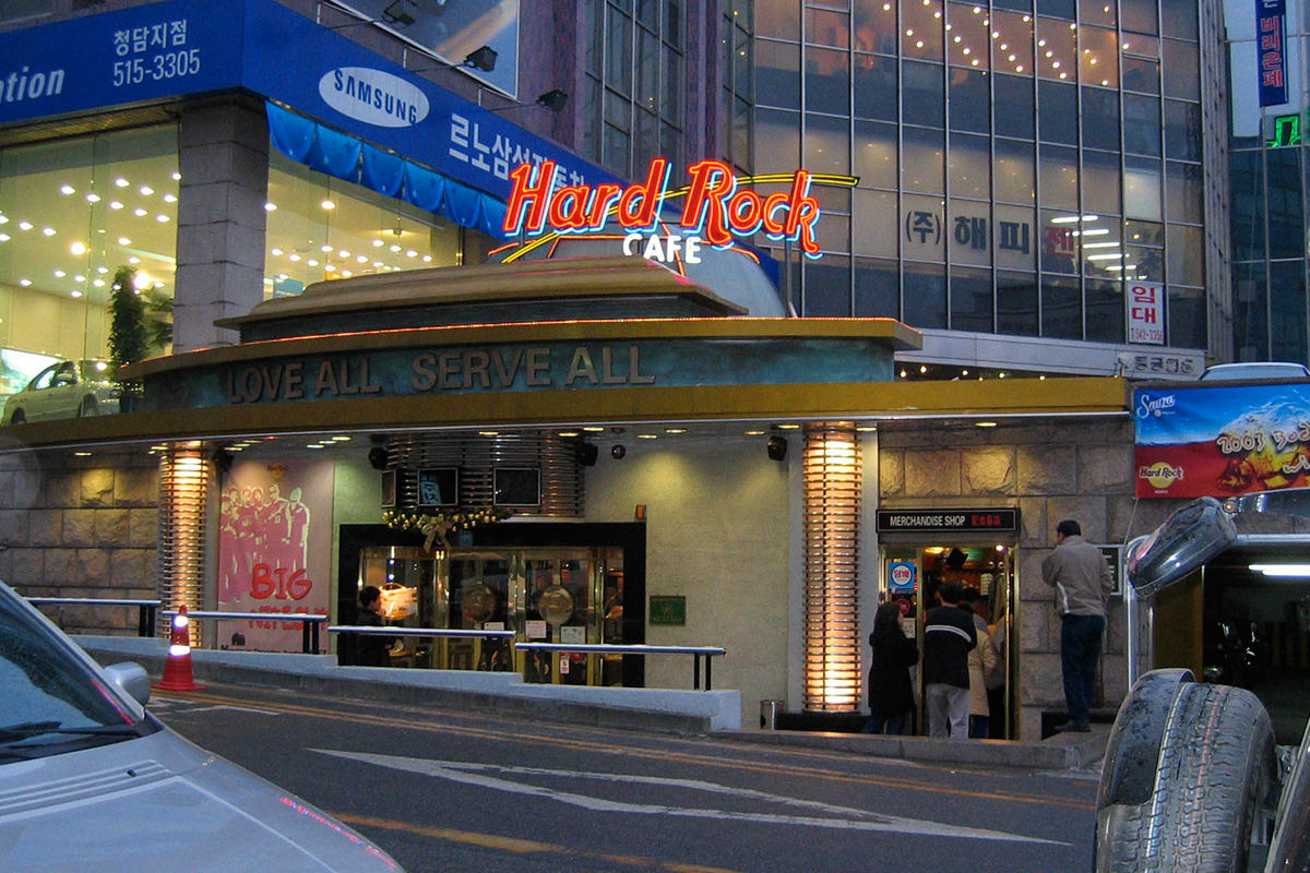 Hard Rock Cafe in Seoul, Korea at night.