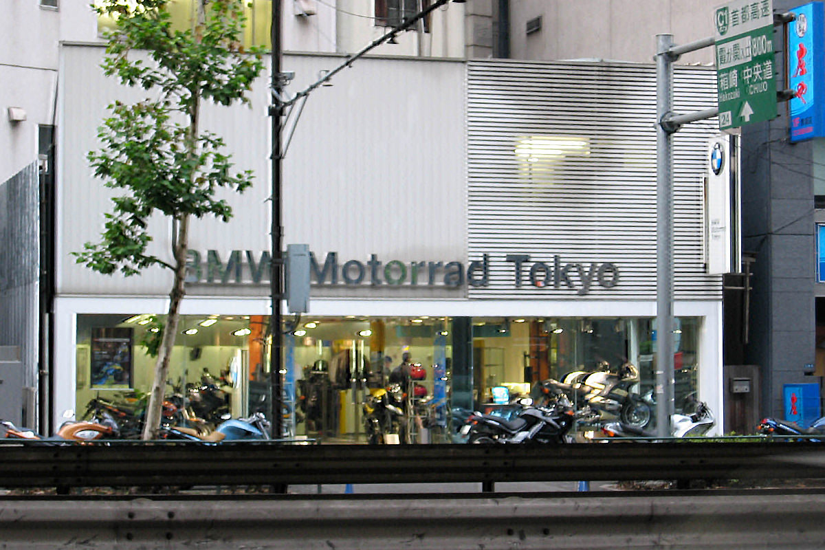 The BMW dealership in Tokyo as seen from a taxi window.