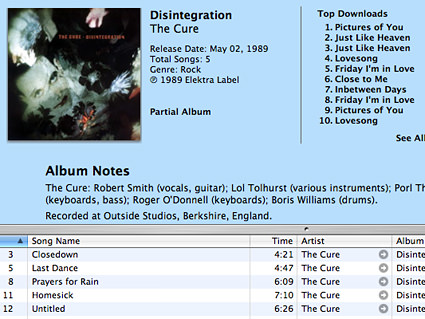 The Cure's album Disintegration showing up as a partial album at the iTunes Music Store.