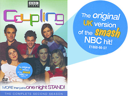 A UK Coupling DVD package with a sticker saying that it's the original version of the USA smash hit.
