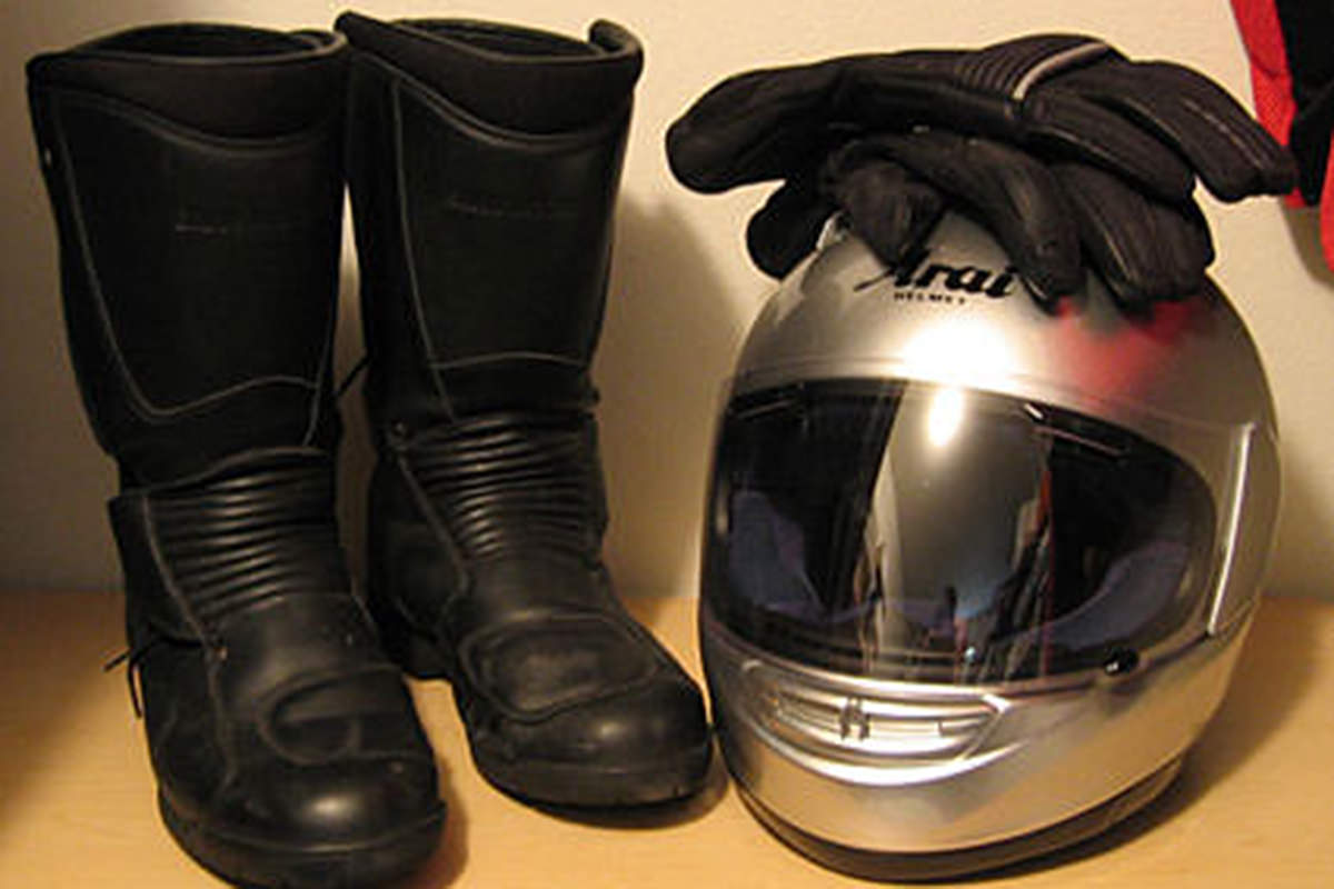My motorcycle helmet and motorcycle boots.