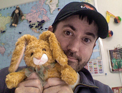 Dave hanging out with Mr. Bun