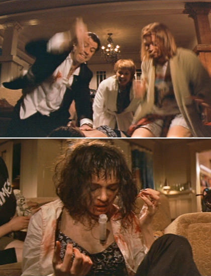 Uma Thurman getting stabbed in the heart by John Travolta in Pulp Fiction.