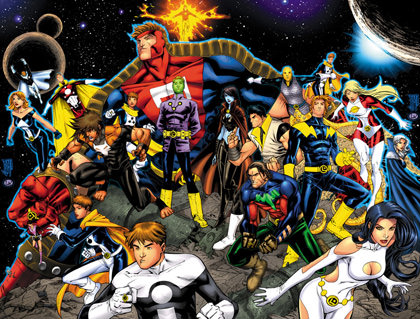 Drawing of the various members of the Legion of Super-Heroes