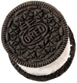 A single Oreo cookie.