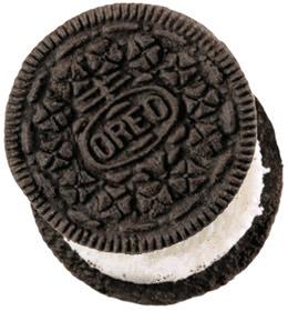 A single Oreo cookie.