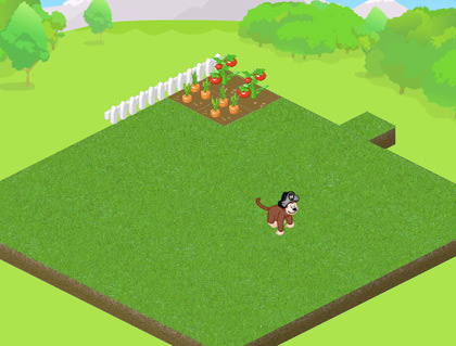 Webkinz monkey playing in a grassy yard next to a garden.