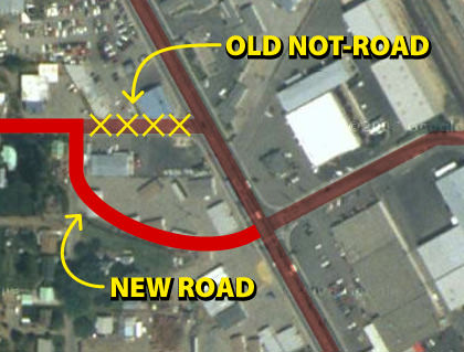A map showing the re-routing of a street from where it used to be in Wenatchee, Washington.