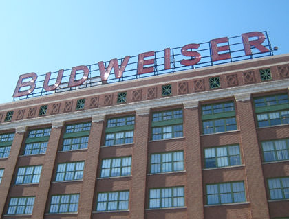 Budweiser sign on top of the packaging building