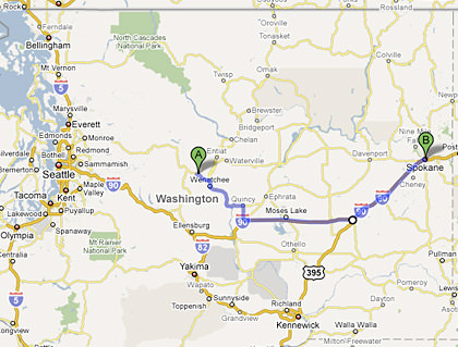 Map from Cashmere, WA to Spokane, WA