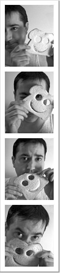 Dave headshots posing with a slice of bread.