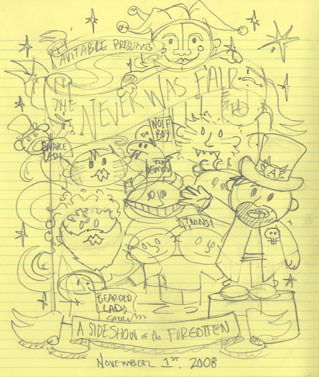 Pencil sketch of my Avitable Halloween Party Shirt.