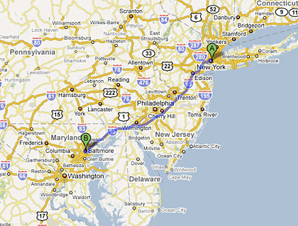 Map from New York City to Baltimore, MD