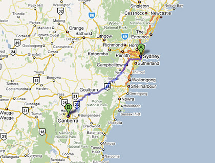 Map from Sydney to Canberra in Australia