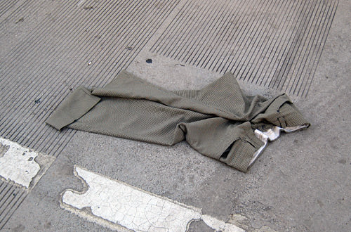 A pair of pants on the streets of Chicago
