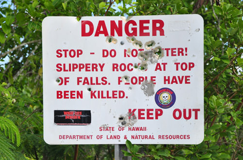 Waimea Falls Sign of Death