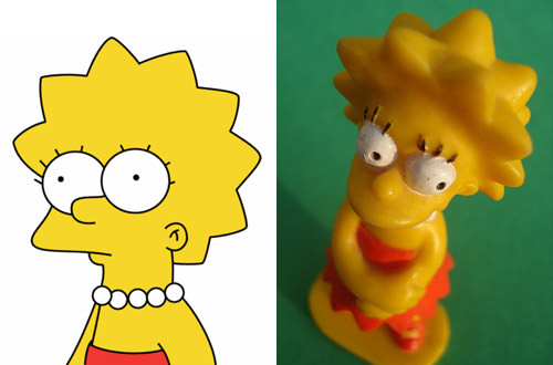 Lisa Simpson in 2-D and 3-D
