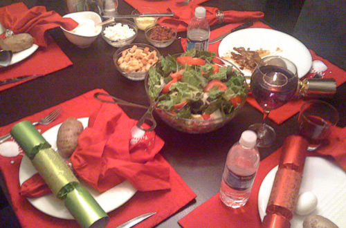 Christmas Dinner Table with Christmas crackers!