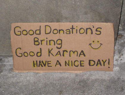 Karma Donation Sign