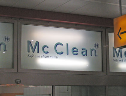 McClean Toilets Sign
