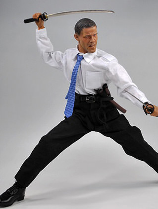 Obama Action Figure: NINJA SWORDS!!