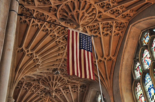 American Flag in Bath Abbey