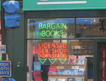 Used Books and Licensed Sex Shop Sign!