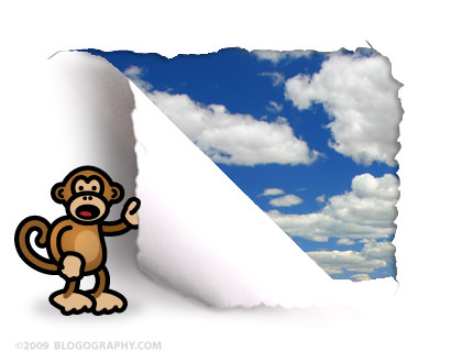 DAVETOON: Bad Monkey rips a hole in my blog to see fluffy clouds