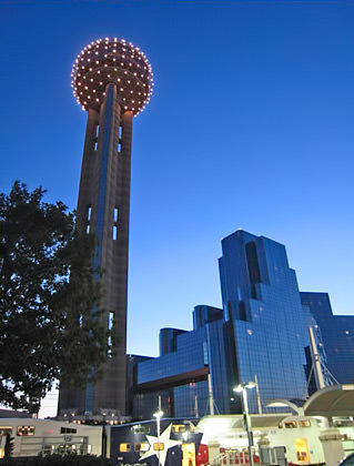 Dallas Reunion Tower at night