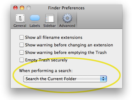Finder Preferences Window Snapshot