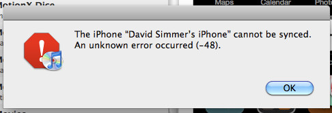 Cannot Sync iPhone, Error (-48)
