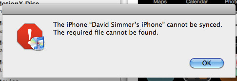 Cannot sync. Required file cannot be found.