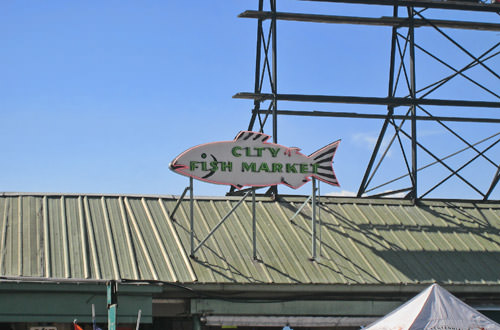 City Fish Market Sign in a Blue, Blue Sky!