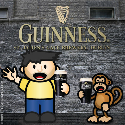 DAVETOON: Dave and Bad Monkey take the Guinness Factory Tour in Dublin