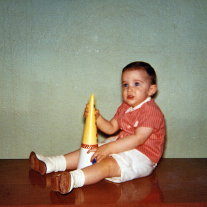 Baby Dave with a Giant Birthday Candle