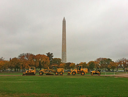 Washington Monument with Construction Vehicles in Front