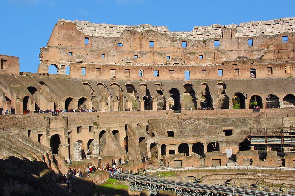 The world-famous Colosseo (Coliseum) in Rome.