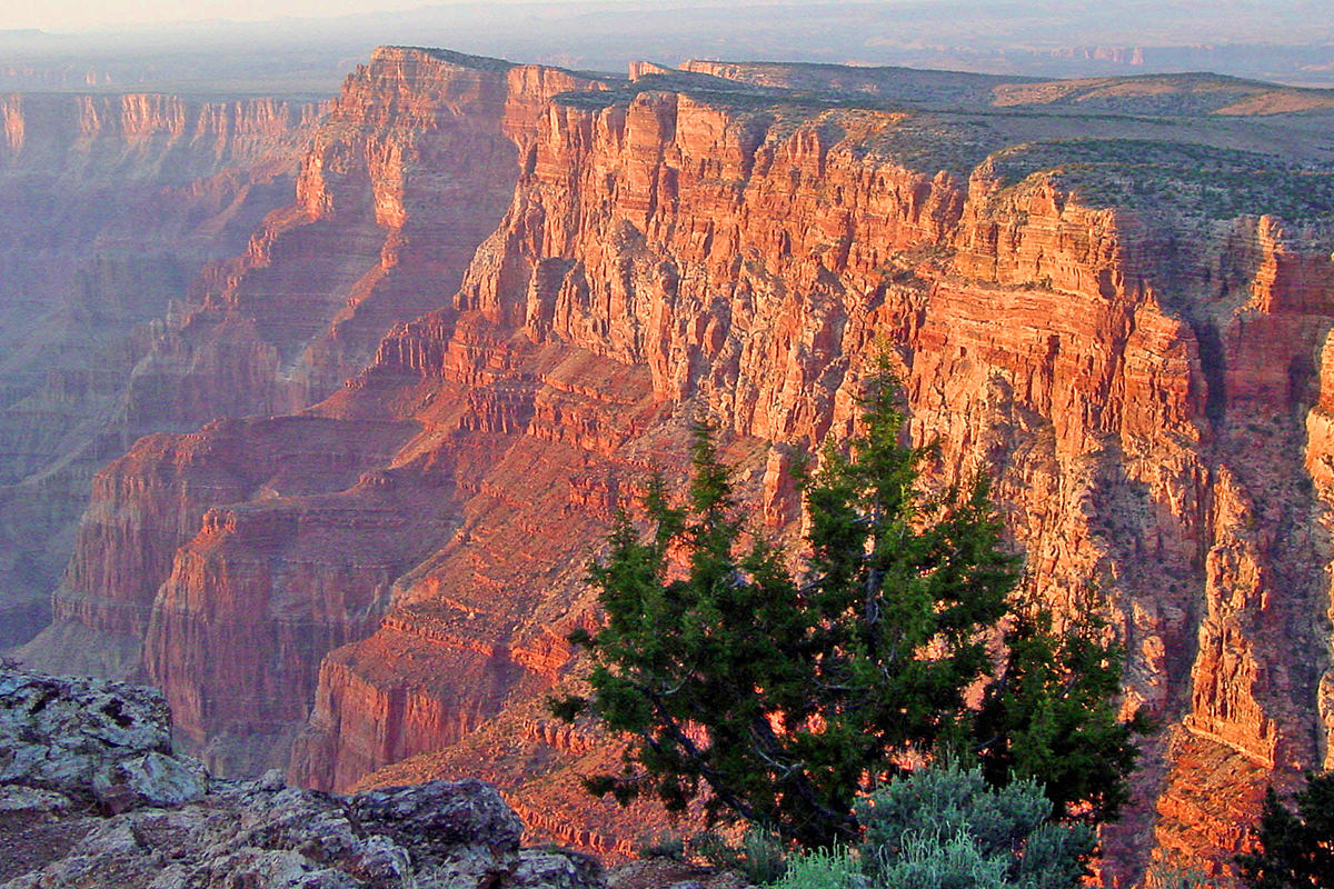A lovely shot of the GrandCanyon at dusk with pretty pastel colors.