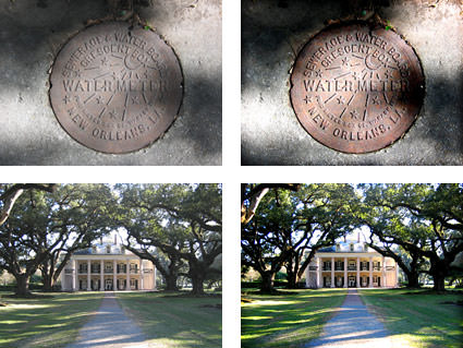 A New Orleans manhole cover and photo of the Oak Alley Plantation mansion with the Lomoizer Effect applied