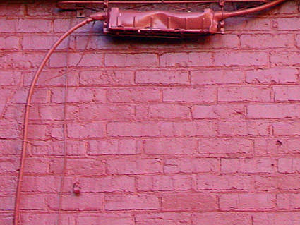 Red-painted bricks.