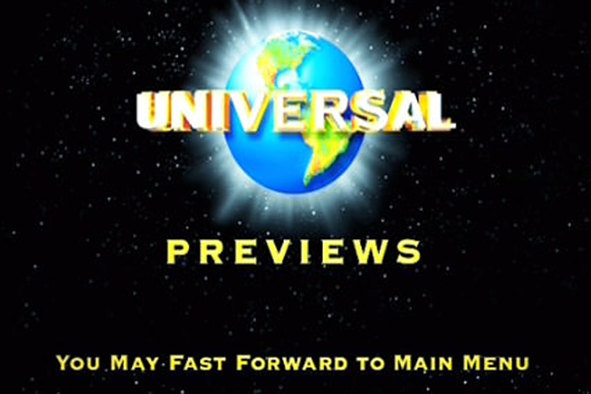 The Universal Studios logo with You may fast forward to main menu beneath it on the opening to the Lost in Translation DVD