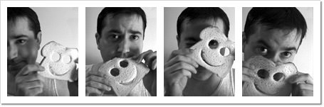Dave posing with a piece of bread which has a smiley face carved in it across four separate images.